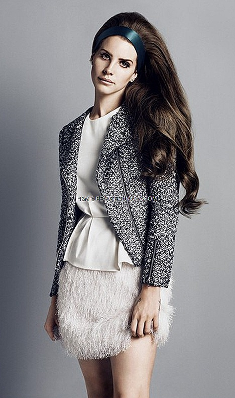 Lana Del Rey H&M Fall Winter 2012 2013  jacket angora coat white shirt skirt platform stacked heels shoes ankle buckle boots earrings accessories clutch bags belts  tweed biker jacket faux leather trimmed burgundy flora dress
