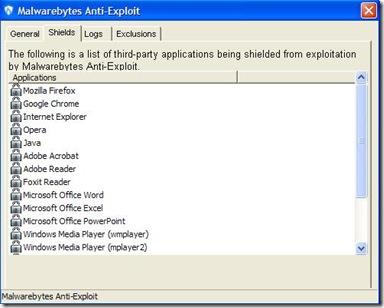 Malwarebytes Anti-Exploit Beta lista programmi del PC che può proteggere