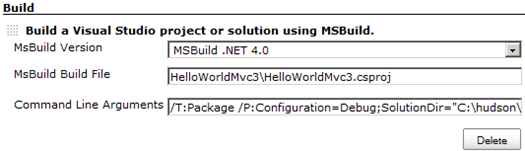 Selecting MSBuild version, filling MSBuild Build File and specifying the command line arguments