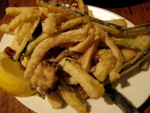 Fried young cuttlefish, courgettes & lemons