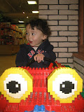 Eidan in a lego car at the I-Setan toy store, in Kichijoji