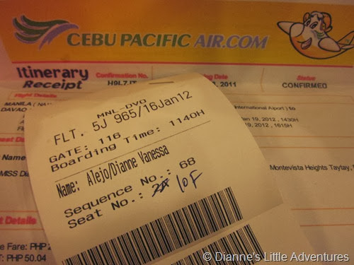 2012, davao, philippines, travel, itinerary, 4 days 3 nights