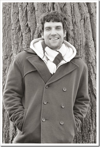 alex by the tree bw