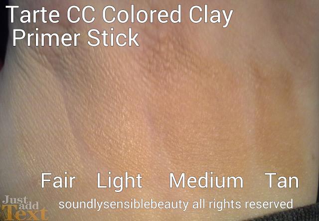 Tarte CC Colored Clay Primer Stick Review & Swatches of Shades Fair, Light, Medium, Tan