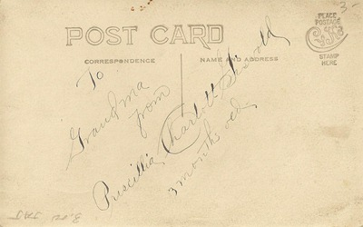 Postcard Priscilla Charlott Giswold DL Antiques back