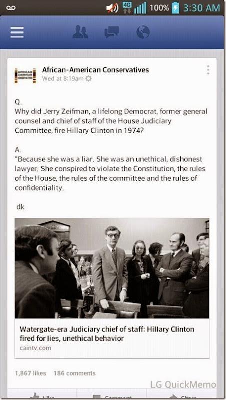 Watergate-era Chief of Staff Fired... Hillary