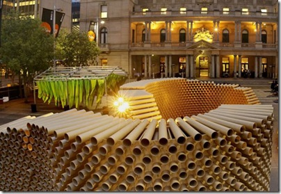 recycled-cardboard-tubes-pavilion-evening-view