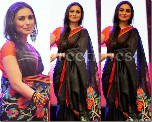 Rani_Mukherjee_Black_Printed_Saree