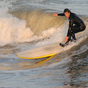 Surfer by Prentiss Findlay - Sports & Fitness Surfing ( surfer, waves, pier, ocean, beach )