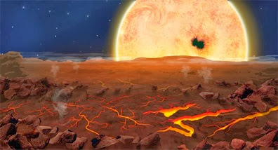 ilustração da superfície do exoplaneta