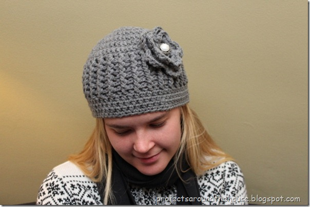 crochet ribbed beanie pattern with flower
