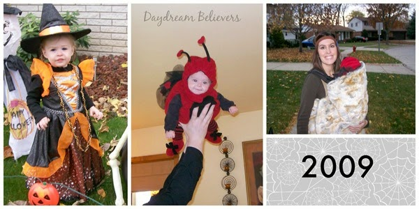 Halloween Witch and Lady Bug Costume Baby wearing Halloween costume idea