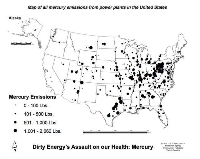 Map of All Mercury Emissions from U.S. Coal-fired Power Plants, November 2011. EPA / Environment America