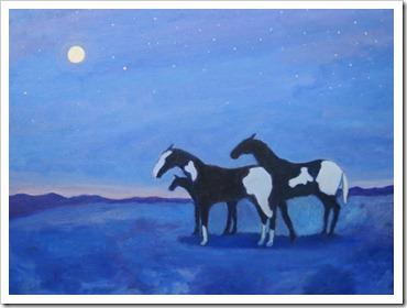 moonlit sky horses