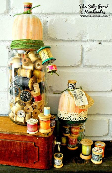 Vintage Spool Pumpkin Fall Mason Jars - The Silly Pearl