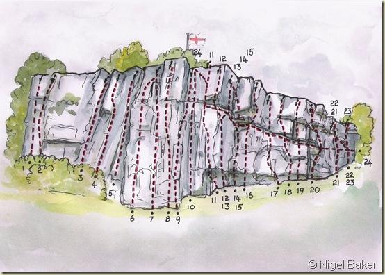Climbing routes on Castlebergh Crag