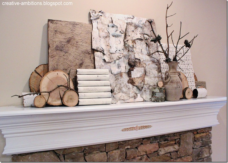 Natural Rustic Winter Mantel Agl3