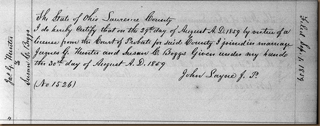 HUNTER_James G marriage to Susan C. BOGGS_Aug 1859_LawrenceCo OH