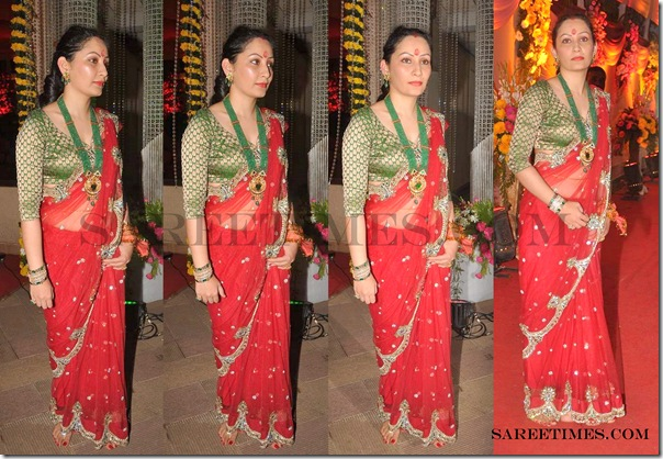 Richa_Sharma_Red_Designer_Saree