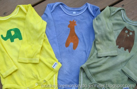 freezer paper stenciled dyed onesies (2)
