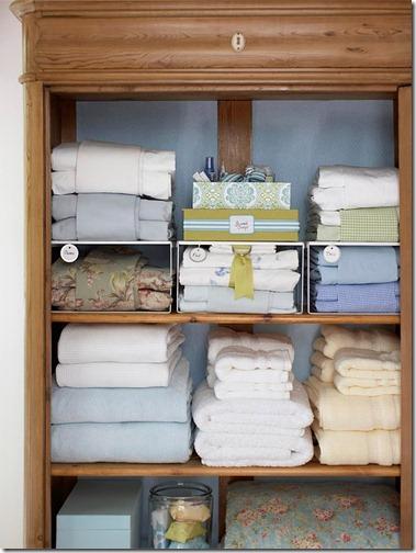 linen cabinet organization via bhg