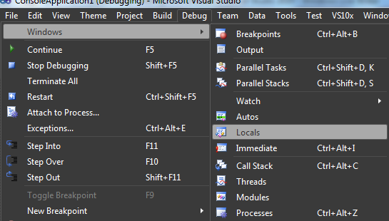 Windows debbug Visual Studio 2010