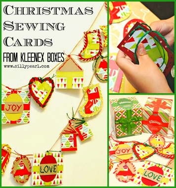 Kids Christmas Craft - Sewing Cards from Kleenex Boxes - by The Silly Pearl