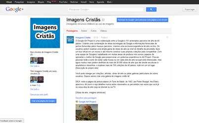 Screenshot da Página do Imagens Cristãs no Google+