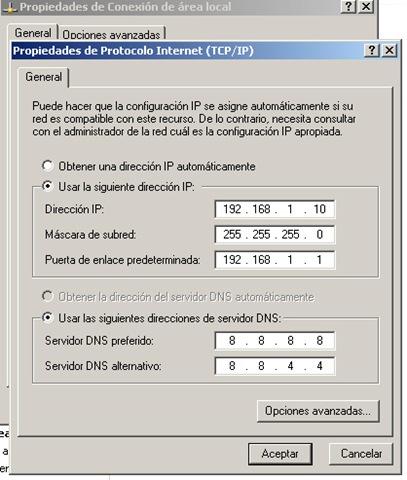 Propiedades TCP /IP