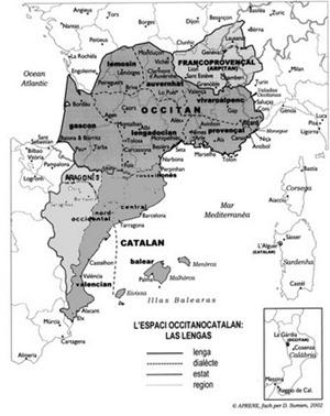 Mapa lingüistica de l'espaci europèu occitanò-catalan-aragonés e arpitan