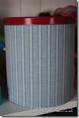 Fabric covered popcorn tin 2