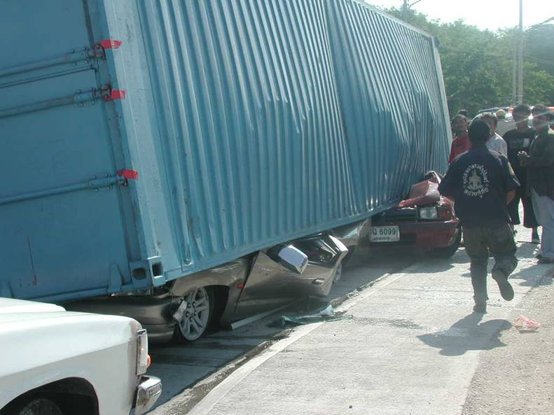 NEVER EVER DRIVE CLOSE TO CONTAINERS