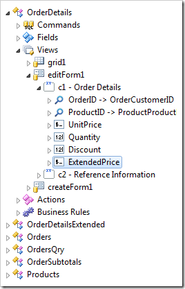 ExtendedPrice field binding created in view 'editForm1'.