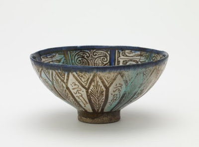 Bowl | Origin:  Iran | Period: late 13th century  Il-Khanid period | Details:  Not Available | Type: Stone-paste; painted under glaze | Size: H: 6.2  W: 13.0  cm | Museum Code: F1908.161 | Photograph and description taken from Freer and the Sackler (Smithsonian) Museums.