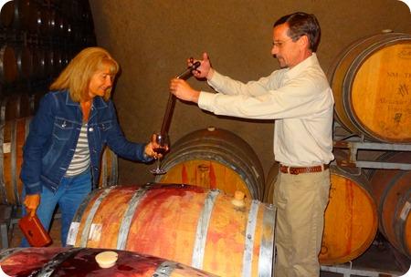 Marsha tasting wine