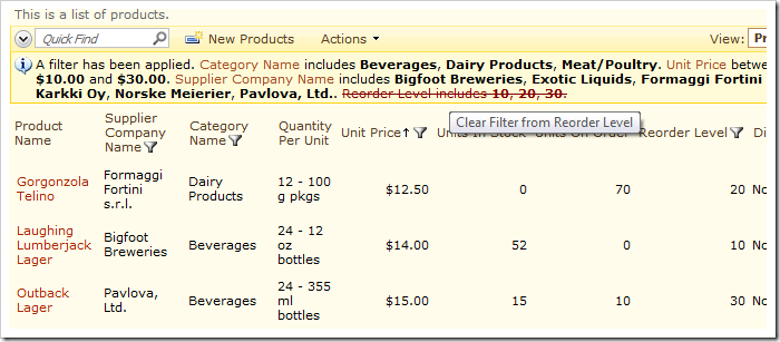 Clear a filter from the list of products by clicking on the specific filter description.
