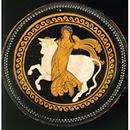 Kylix de figuras rojas, ca 330 - 320 BC, representando -quizás- el rapto de Europa