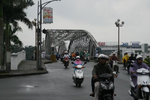 Hue! This bridge over the Perfume River is where the Americans were first driven back by the North Vietnamese army (after they took the city during the Tet offensive).