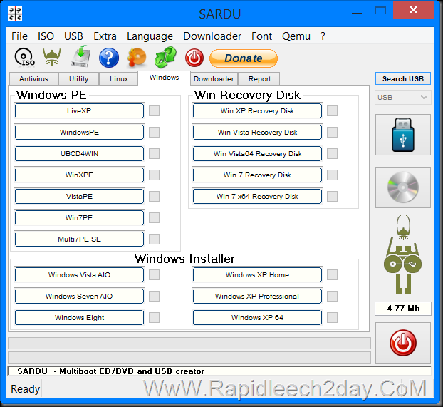 SARDU – Multiboot USB and CD or DVD Creator