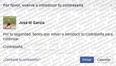 Copia de seguridad de Facebook - confirmar contraseña facebook