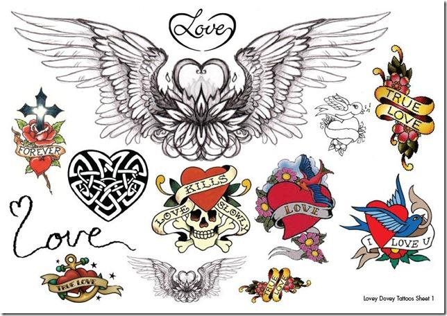 lovey dovey tattoo sheet 1