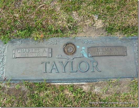 Hilma E. Carlsson Taylor and Charles A. Taylor Tombstone