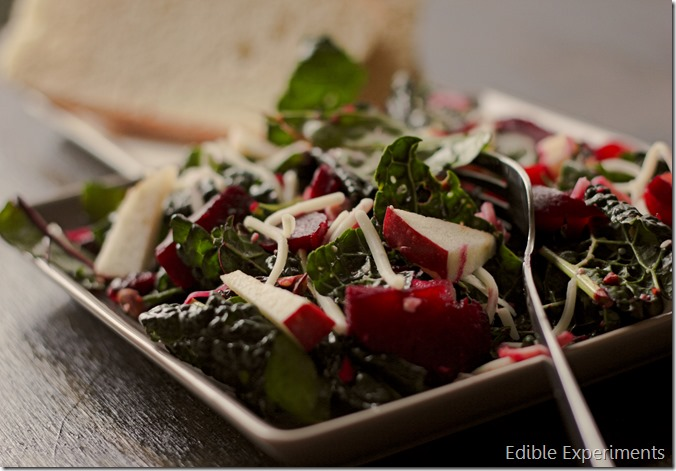 Apple, Roasted Beet, and Kale Salad with Apple Cider Vinaigrette