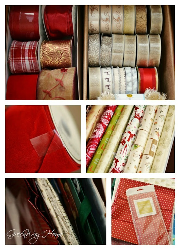 Holiday wrap organization collage