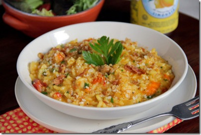Saffron Risotto with Pancetta, Tomatoes and Sausage