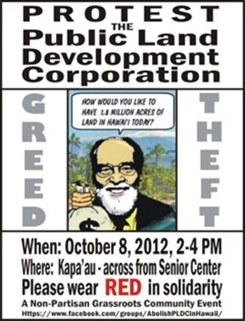 Kapa`au Monday, Oct 8 - PLDC PROTEST RALLY - 2-4PM Kohala
