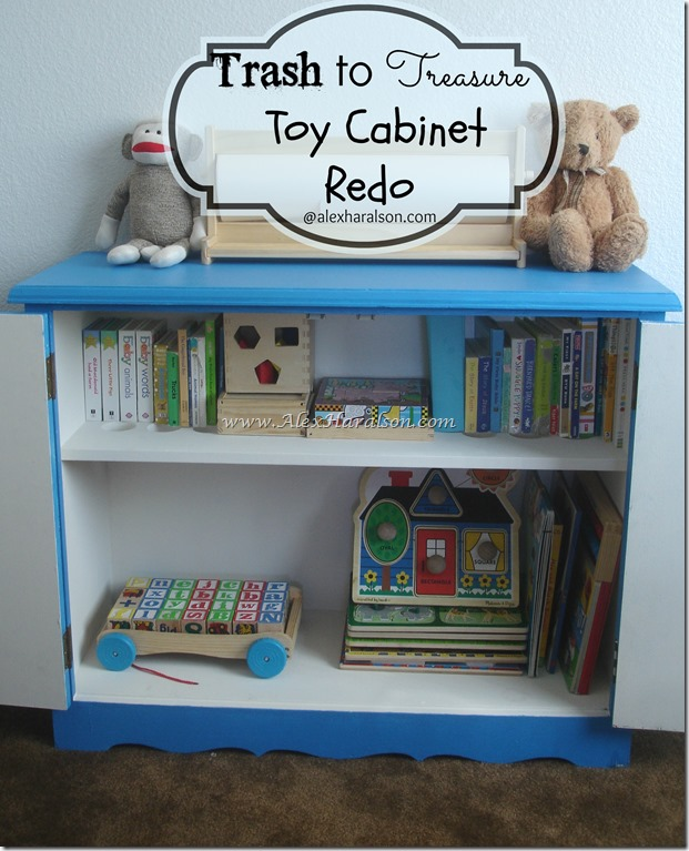 Bright Blue Trash to Treasure Toy Cabinet Redo After