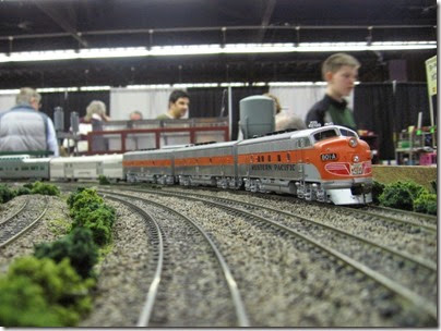 IMG_5484 Western Pacific F3A #801A pulling the California Zephyr on the LK&R HO-Scale Layout at the WGH Show in Portland, OR on February 17, 2007