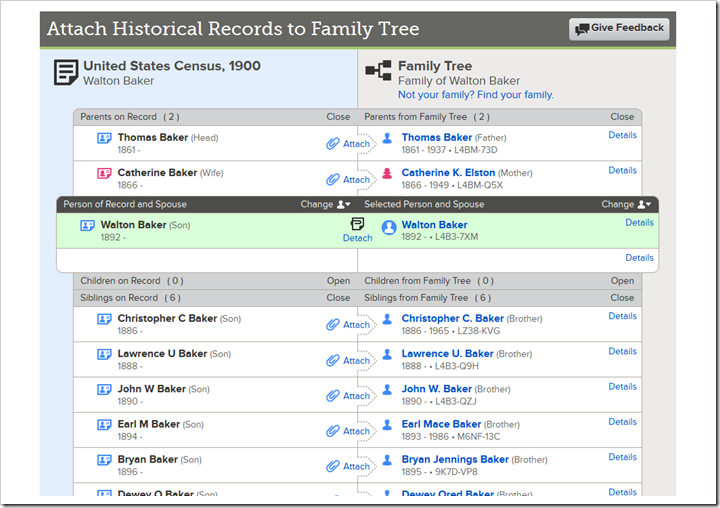 Enhanced Attach lets users attach entire families in a record to entire families in Family Tree