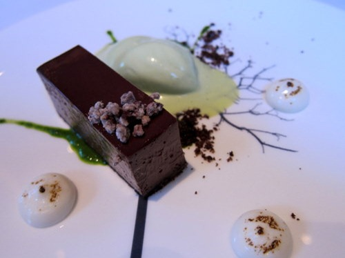 Pavé of Chocolate with Milk Purée and Lovage Ice Cream
